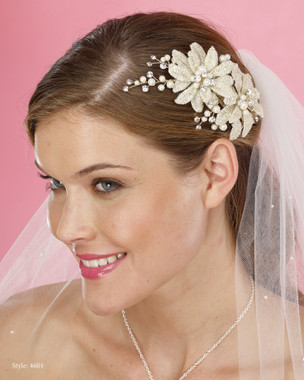 Le Crystal  Accessory - Marionat Bridal Headpieces 4601 - Gold Flower wtih Pearl Sprays