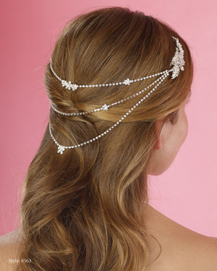 Marionat Bridal Headpieces 8563 - Double Rhinestone Clips with 3 Rhinestone Chains