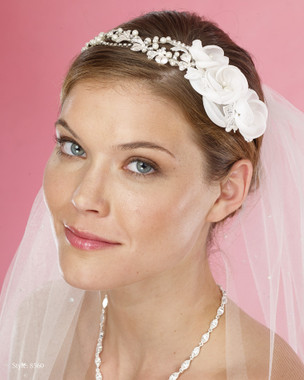 Marionat Bridal Headpieces 8560 - Asymmetrical Pearl Band with Flower