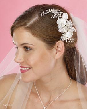 Marionat Bridal Headpieces 8558 - Pearl and Flower Hair Clip wtih Rhinestone Sprays