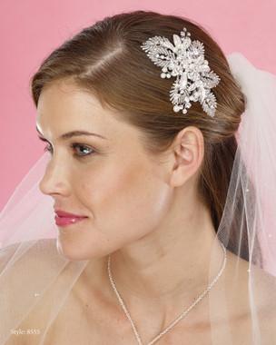 Marionat Bridal Headpieces 8555 - Pearl, Rhinestone Beaded Clip