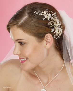 Marionat Bridal Headpieces 8553 - Gold Rhinestone Flower Hair Clip