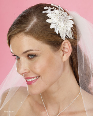 Marionat Bridal Headpieces 8550 - Pearl and Rhinestone Clip with Beading