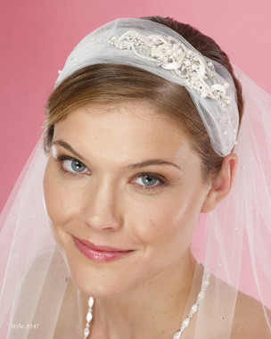 Marionat Bridal Headpieces 8547 - Tulle Headband with Beaded Applique