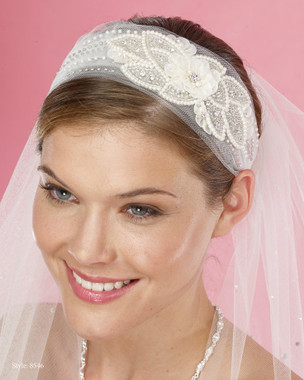 Marionat Bridal Headpieces 8546 - Tulle Headband with Beaded Applique