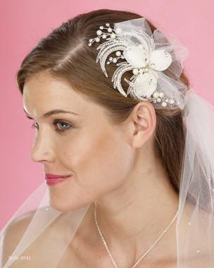 Marionat Bridal Headpieces 8541 - Flower Tulle Clip