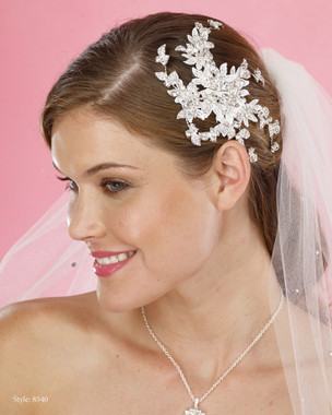 Marionat Bridal Headpieces 8540 - Rhinestone Spray Clip with Lace Leaves