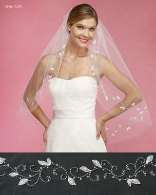 Marionat Bridal Veils 3249- The Bridal Veil Company - Leaf Embroidered Design