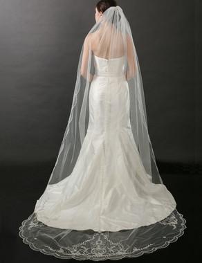 "Bel Aire Bridal Veils V7258C - Cathedral Wedding Veil -108""- Embroidered Leaves"