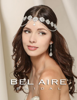 Bel Aire Bridal Accessory Headpiece 6520- Round Rhinestone Motif Halo With Draped Rhinestone Chains