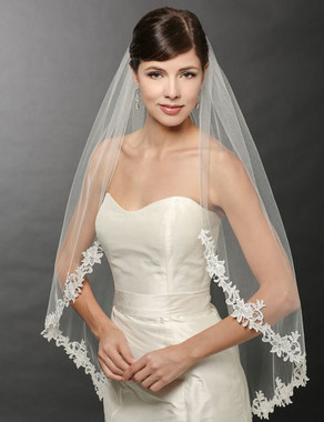 Bel Aire Bridal Wedding Veil V7240- One Tier Fingertip Veil with Beaded Venise Lace