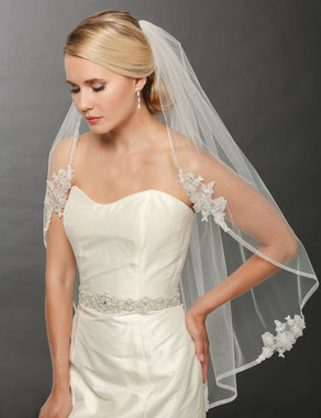 Bel Aire Bridal Wedding Veil V7242- One Tier Fingertip Veil with Organza Ribbon and Lace Motifs