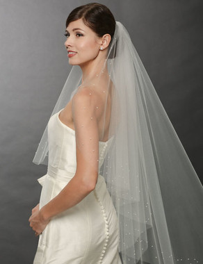 Bel Aire Bridal Wedding Veil V7253- One Tier Fingertip Pearl-Dotted Cascade Veil