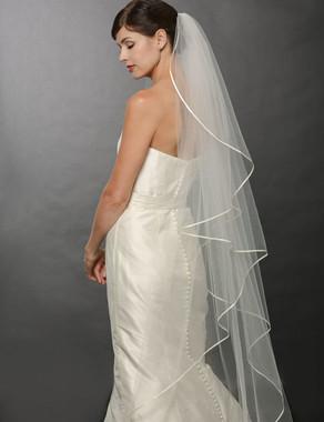 Bel Aire Bridal Wedding Veil V7250- One Tier Fingertip Cascading Ribbon Floor-LengthVeil