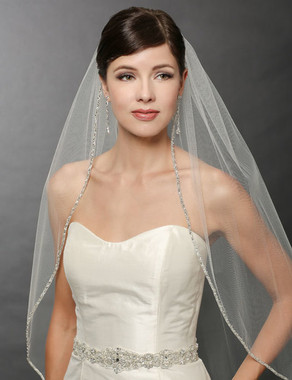 Bel Aire Bridal Wedding Veil V7241- One Tier Fingertip Silver Edge Beaded Veil