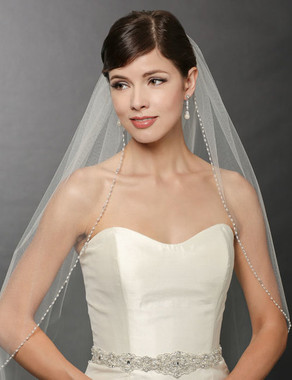 Bel Aire Bridal Wedding Veil V7245- One Tier Fingertip Oval Pearl and Rhinestone Veil