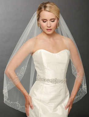 Bel Aire Bridal Wedding Veil V7243- One Tier Fingertip Beaded Scroll Veil