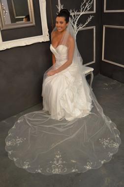 Elena Bridal Designs Wedding Veil Style E1151L - Scalloped Beaded Cathedral Wedding Veil