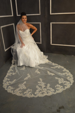 Elena Bridal Designs Wedding Veil Style E1154L - Cathedral Beaded Wedding Veil