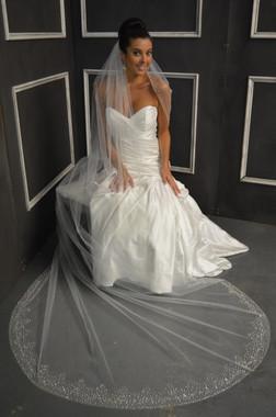 Elena Bridal Designs Wedding Veil Style E1153L - Cathedral Beaded Wedding Veil