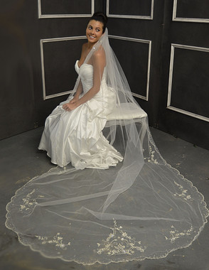 Elena Designs Wedding Veil Style E1150L - Cathedral Beaded Wedding Veil