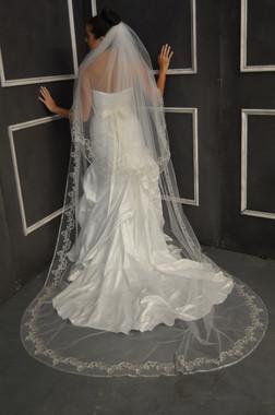 Elena Designs Wedding Veil Style E1149L - Cathedral Beaded Wedding Veil