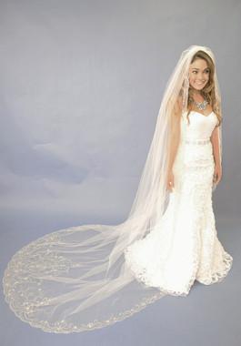 Elena Designs Wedding Veil Style E1122L - Cathedral Beaded Wedding Veil