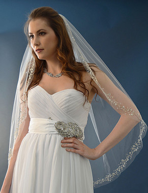 Elena Designs Wedding Veil Style E1134 -Fingertip Beaded Veil