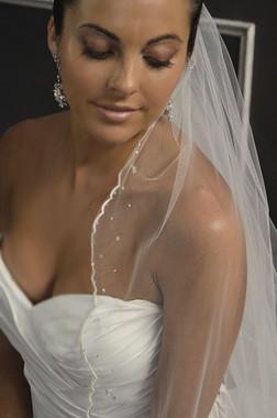 Elena Designs Wedding Veil Style E1150S- Fingertip Embroidered Veil