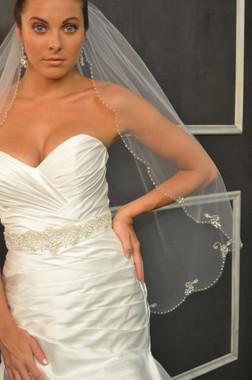 Elena Designs Wedding Veil Style E1151S -Fingertip Beaded Veil