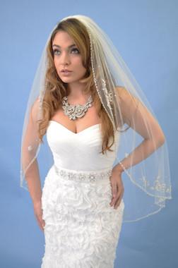Elena Designs Wedding Veil Style E1118S - Fingertip Beaded Veil