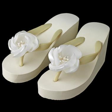 Rhinestone Pearl Accents Flower High Wedge Flip Flops