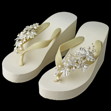 Pearl Accents Floral Vine High Wedge Flip Flops
