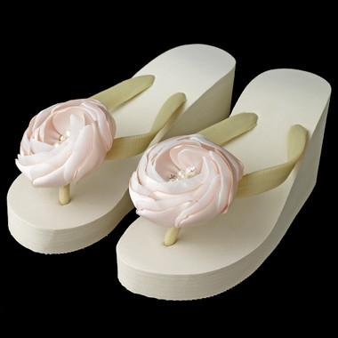 Rhinestone & Pearl Accents Flower High Wedge Flip Flops