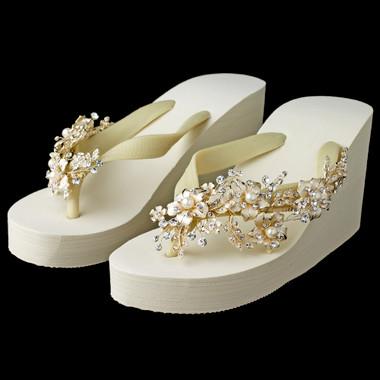 Floral Pearl Light Gold Vine High Wedge Flip Flops