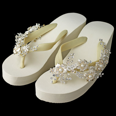 Pearl Accents Floral Rhinestone Vine High Wedge Flip Flops