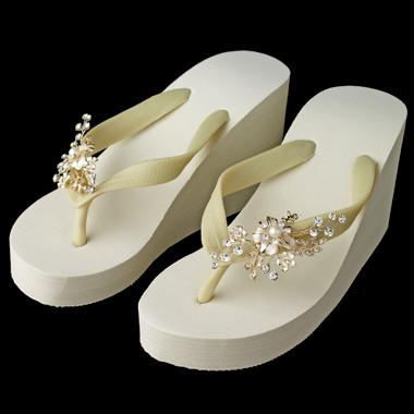 Pearl Floral Light Gold Vine High Wedge Flip Flops