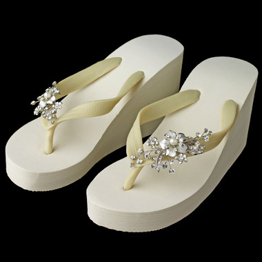 Rhinestone & Pearl Accents Floral Vine High Wedge Flip Flops