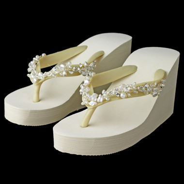 Crystal & Freshwater Pearl Accents High Wedge Flip Flops