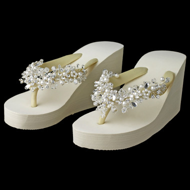 Crystal & Pearl Accents High Wedge Flip Flops