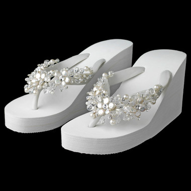 Crystal Coin Pearl Accents High Wedge Flip Flops