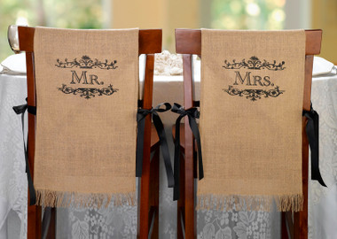 Mr. and Mrs. Burlap Chair Covers - Lillian Rose