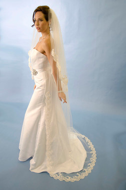 """Ansonia Bridal Veil Style 200L - Cathedral Length - 108"""" Long"""