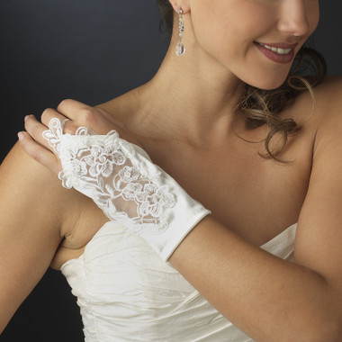 Satin Fingerless Wrist Length Bridal Gloves GL-9134 - 2W
