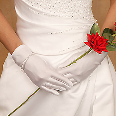 Matte Satin Wrist Length Bridal Gloves Style GL-MW
