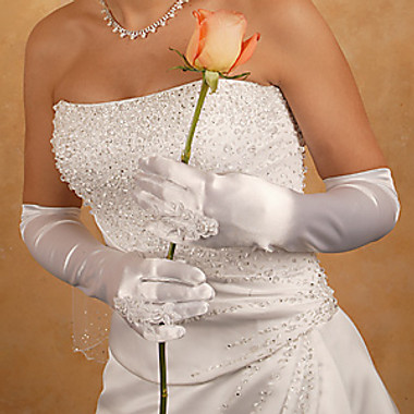 Bridal Ring Finger Satin Gloves GL-9055-12A