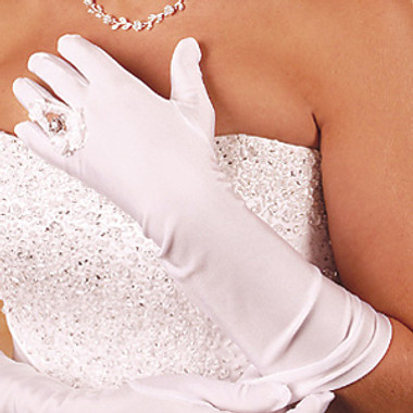 Ring Finger Elbow Length Bridal Glove GL-217-8E