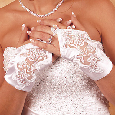 Satin Fingerless Wrist Length Bridal Gloves GL-9134-2W