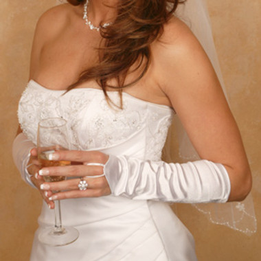 Satin Fingerless Elbow Length Bridal Glove GL-212V-8E