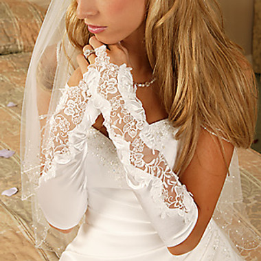 Designer Fingerless Bridal Glove GL-9128V-10A
